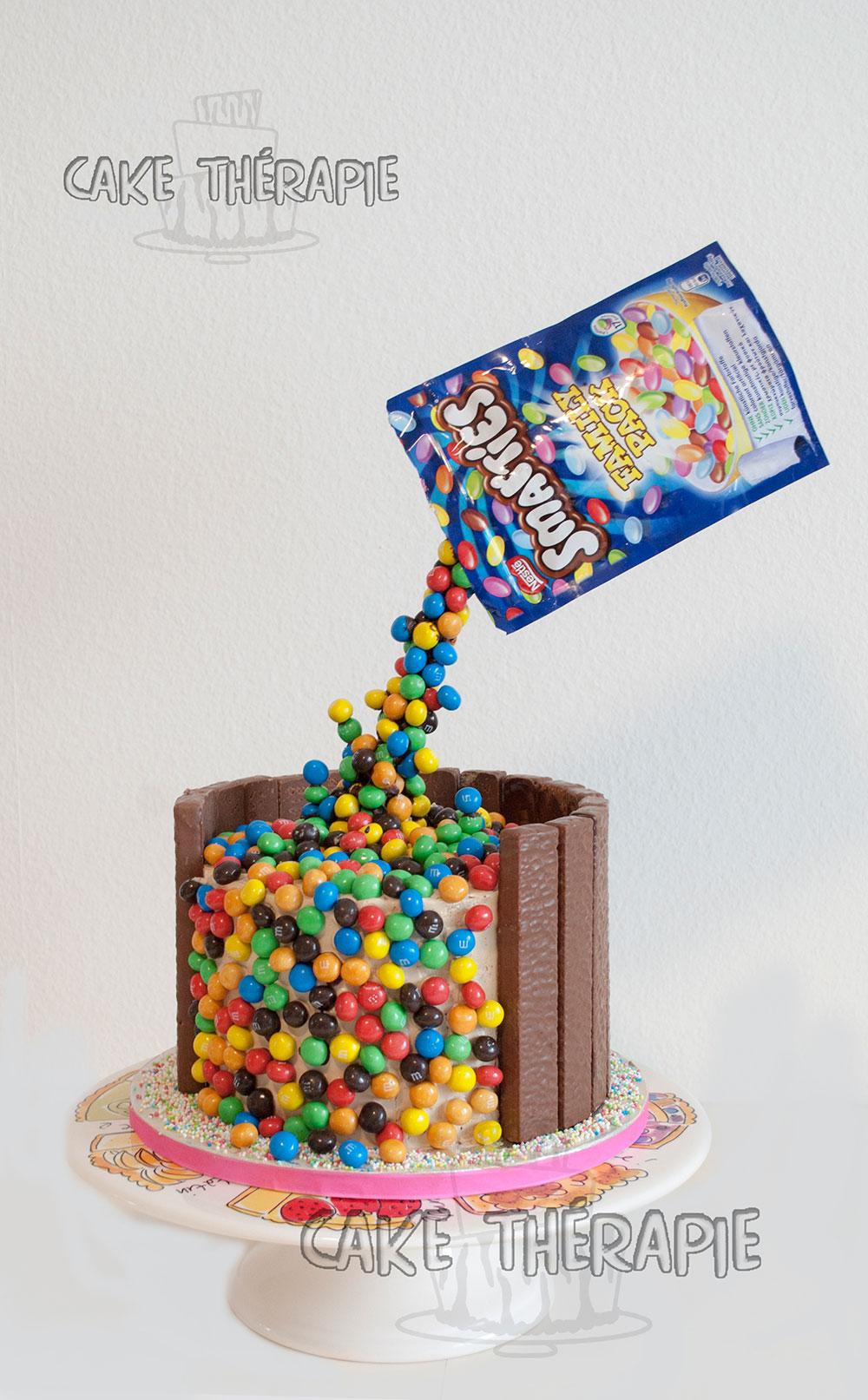 Smarties Anti Gravity Cake
